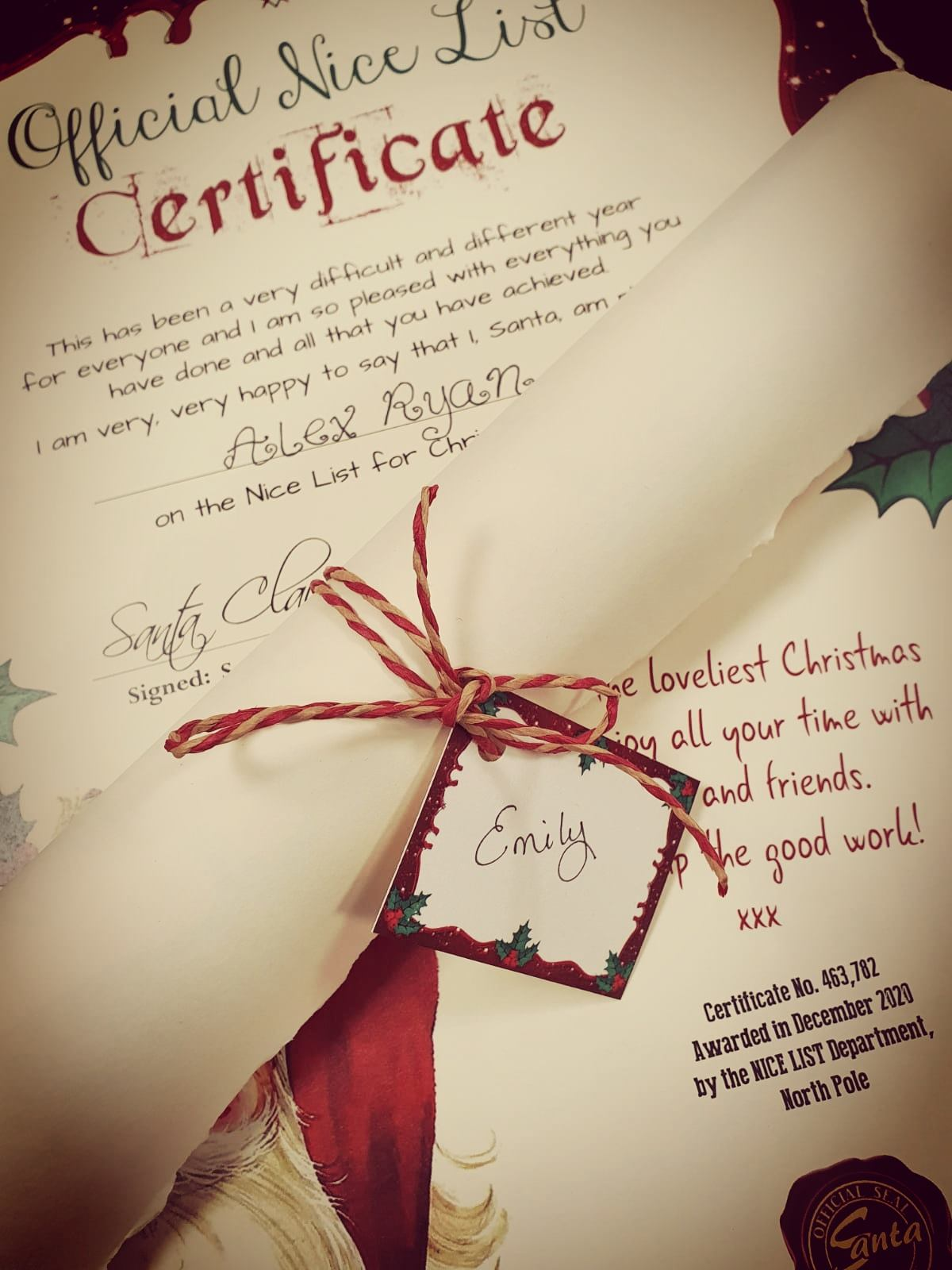 Official Nice List Certificate A3 Config